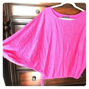 Express fuchsia metallic dolman sleeve sweater